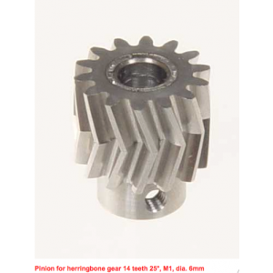 MIK5011 Mikado Pinion for herringbone gear 14 teeth 25°, M1, dia. 6mm